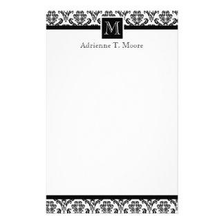 Elegant Black White Monogram Initial Stationery