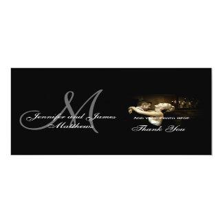 "Elegant Black & White Monogram Wedding Thank You 4"" X 9.25"" Invitation Card"