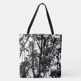 Elegant Black White Organic Pattern Trees at Dawn Tote Bag