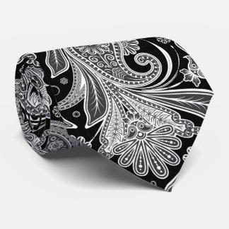 Elegant Black & White Paisley Pattern Tie