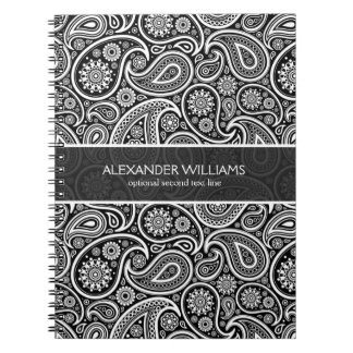 Elegant Black & White Paisley Spiral Notebook