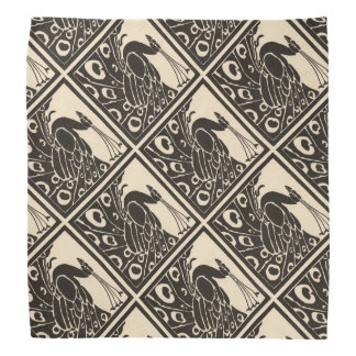ELEGANT BLACK WHITE PEACOCK BANDANA