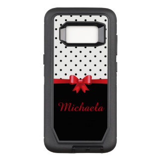 Elegant Black white polka dots red bow monogram OtterBox Defender Samsung Galaxy S8 Case