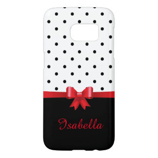 Elegant Black white polka dots red bow monogram Samsung Galaxy S7 Case