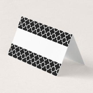Elegant Black White Quatrefoil Wedding Place Card