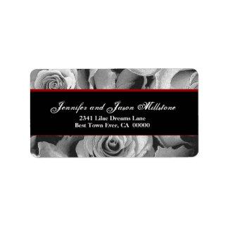 Elegant BLACK WHITE RED Roses Wedding Label