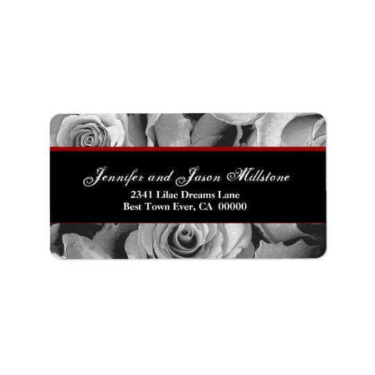 Elegant BLACK WHITE RED Roses Wedding Label