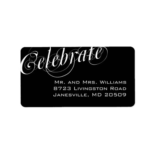 Elegant Black & White Return Address Labels