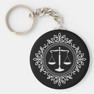 Elegant Black White Scales of Justice Keychain