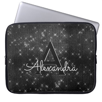 Elegant Black & White Sparkling Stars Monogram Laptop Sleeve