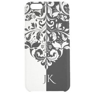 Elegant Black & White Spit Screen Floral Swirl Clear iPhone 6 Plus Case