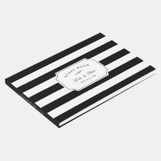 Elegant Black & White Stripe Wedding Guest Book