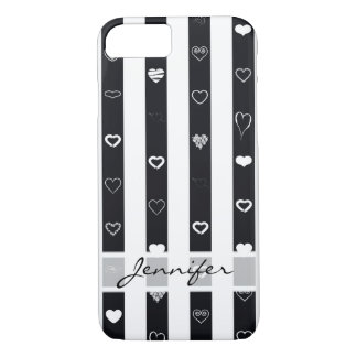 Elegant Black White Stripes Modern Heart Pattern iPhone 8/7 Case
