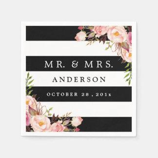 Elegant Black White Stripes Pink Floral Wedding Napkin