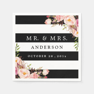 Elegant Black White Stripes Pink Floral Wedding Paper Napkins