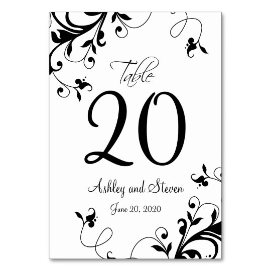 Elegant Black White Swirls Wedding Card
