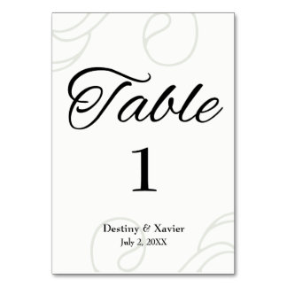 Elegant Black & White Table Card
