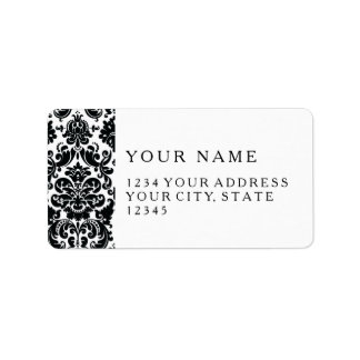 Elegant Black White Vintage Damask Pattern Label