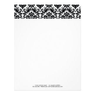 Elegant Black White Vintage Damask Pattern Letterhead