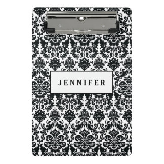 Elegant Black White Vintage Damask Pattern Mini Clipboard