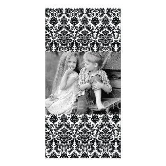 Elegant Black White Vintage Damask Pattern Photo Card