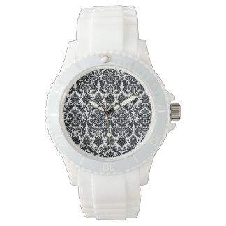 Elegant Black White Vintage Damask Pattern Wristwatches