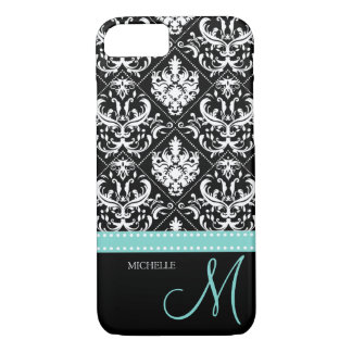 Elegant black & white vintage damask with monogram iPhone 7 case