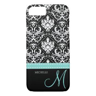 Elegant black & white vintage damask with monogram iPhone 7 case
