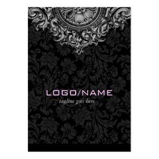 Elegant Black White Vintage Floral Ornament Business Card