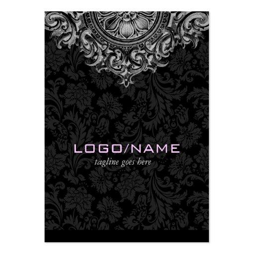 Elegant Black & White Vintage Floral Ornament Business Card