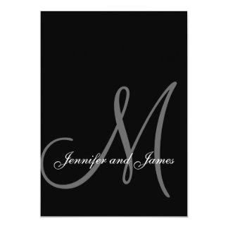 Elegant Black White Wedding Invitations Initial