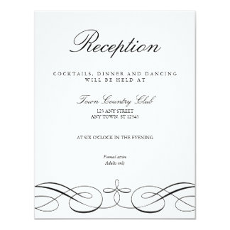 Elegant Black White Wedding Reception Card