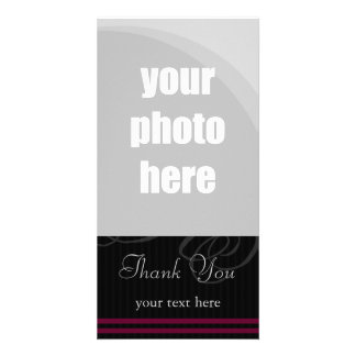 "Elegant Black/Wine ""Thank You"" Picture Card"