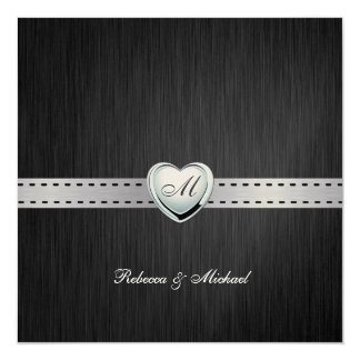 Elegant (Blank) Damask Monogram Wedding Invites