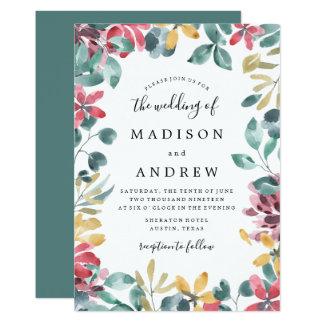 Elegant Blossoms Floral Frame Wedding Invitation