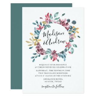 Elegant Blossoms Floral Wreath Wedding Invitation