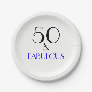 Elegant Blue 50th Birthday Party Paper Plate 7 Inch Paper Plate
