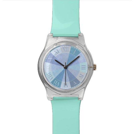 Elegant Blue and Aqua Roman Numerals Fancy Girl's Wrist Watches