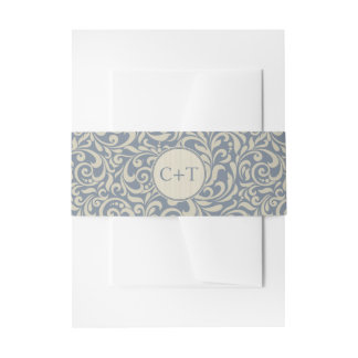 Elegant Blue and Beige Damask with Initials Invitation Belly Band