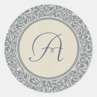 Elegant Blue and Beige Damask with Monogram Classic Round Sticker