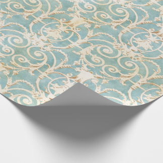 Elegant Blue and Beige Damask Wrapping Paper