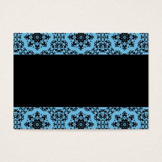 Elegant blue and black damask blank business card