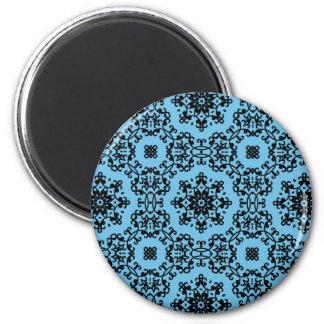 Elegant blue and black damask decor magnet