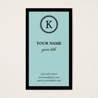 Elegant Blue and Black Monogram Business Cards