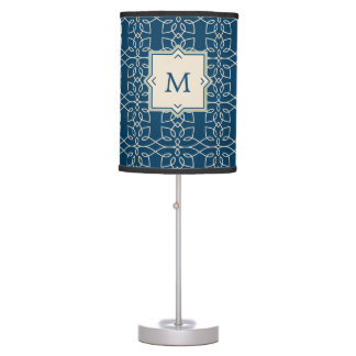 Elegant Blue and Blush Pattern with Monogram Table Lamp