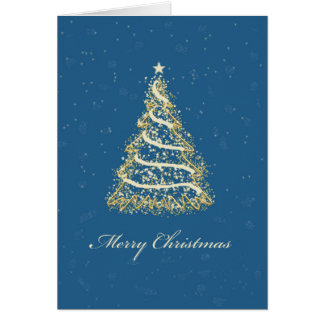 Elegant Blue and Gold Christmas Tree Greeting Card