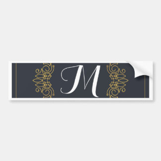 Elegant Blue and Gold Monogram | Enter your own Bumper Sticker