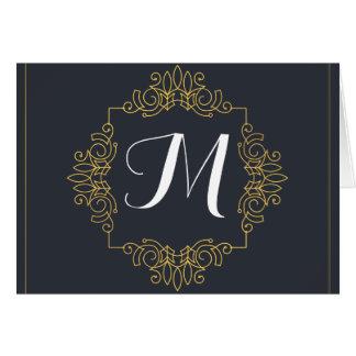 Elegant Blue and Gold Monogram | Enter your own Card