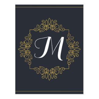 Elegant Blue and Gold Monogram | Enter your own Postcard