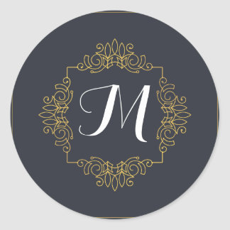 Elegant Blue and Gold Monogram | Enter your own Round Sticker